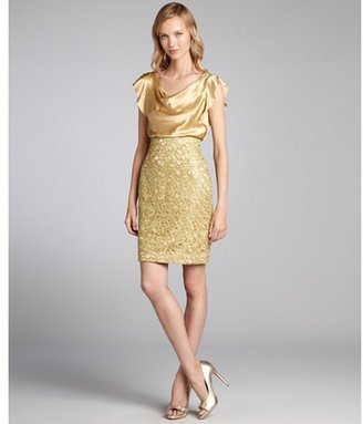 Kay Unger gold silk and metallic lace overlay party dress