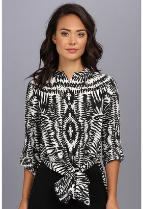 Vince Camuto L/S Tribal Impression Tie Waist Tunic
