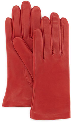 Grandoe Cashmere-Lined Two-Button Leather Gloves, Red