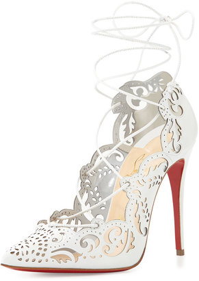 Christian Louboutin Impera Lace-Up Red Sole Pump, White