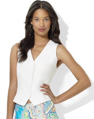 Lauren Ralph Lauren Floral-Embroidered Linen Vest