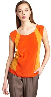 French Connection tangerine and papaya silk colorblocked blouse