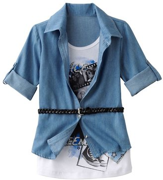 """Knitworks belted mock-layer """"friendship"""" top - girls 7-16"""