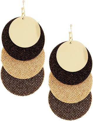 Greenbeads Glitter Trip-Disc Earrings, Brown/Gold