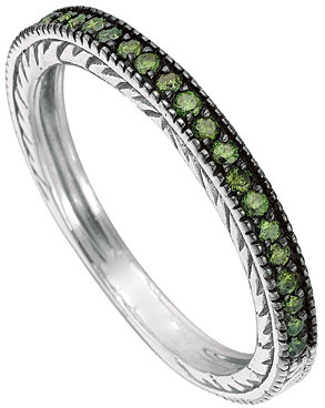 Morris & David White Gold and Green Diamond Channel Band