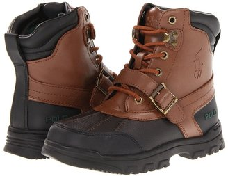 Polo Ralph Lauren Country Boot (Toddler/Youth) (Chocolate Tumbled/Tan Burnished Leather) - Footwear