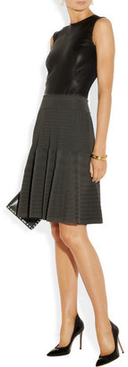 Donna Karan Ribbed stretch-knit flared skirt