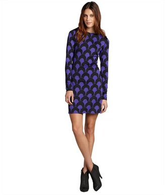 Julie Brown JB by purple scallop print jersey 'Morgan' long sleeve dress
