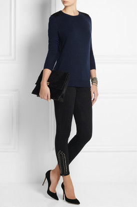 Current/Elliott The Zip Stiletto studded mid-rise skinny jeans
