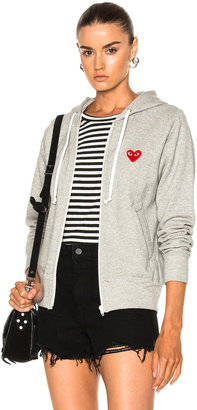 Comme des Garcons Zip Up Cotton Hoodie with Red Emblem in Top Gray | FWRD
