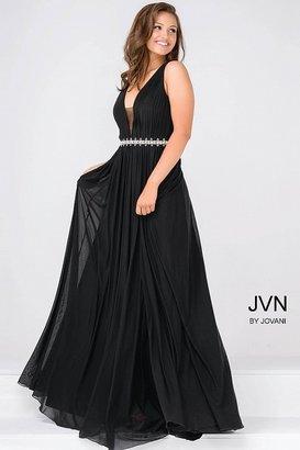 Jovani Embellished Waistline Sleeveless Chiffon Dress JVN47776