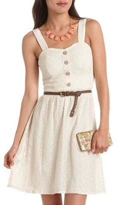 Charlotte Russe Belted Button-Front Crochet Dress