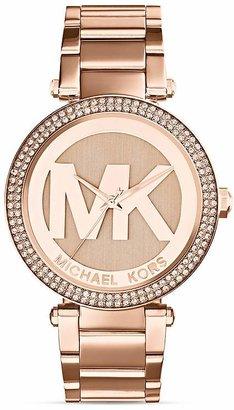 Michael Kors Rose Gold–Tone Parker Three-Hand Glitz Watch, 33mm $250 thestylecure.com