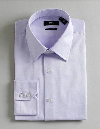 HUGO BOSS Solid Textured Dress Shirt