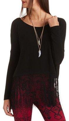 Charlotte Russe Long Sleeve Fringe Knit