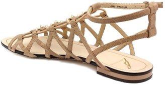 "Brian Atwood Augustina"" Beige Suede & Snakeskin Flat Gladiator Sandal"