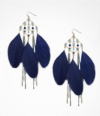 Express Beaded Cutout Feather Fringe Earrings
