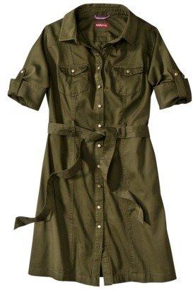 Merona Women's Belted Shirt Dress - Broccoli