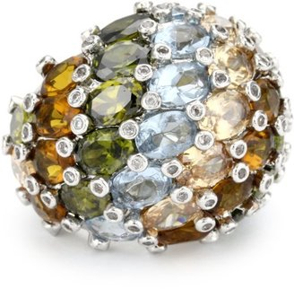 Kenneth Jay Lane Rhodium and Multi Pastel Dome Adjustable Ring