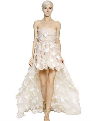 Blumarine Fringed Flowers Tulle Hi Low Dress