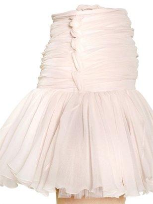 Balmain Silk Chiffon Pleated Skirt