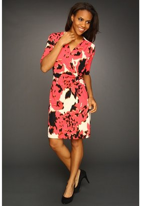 Jones New York Elbow Sleeve Twisted Wrap Dress (Multi) - Apparel