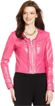Ellen Tracy Jacket, Long-Sleeve Ruffle Faux Leather