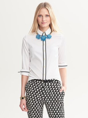 Banana Republic Fitted Non-Iron Piped Shirt
