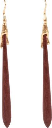 Lucifer Vir Honestus Amaranth Wood Drop Earrings