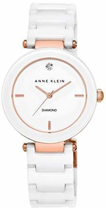 Anne Klein Women's AK/1018RGWT Diamond-Accented White Ceramic Bracelet Watch