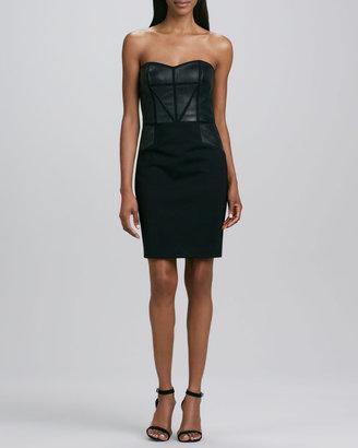 Aidan Mattox Strapless Leather Cocktail Dress