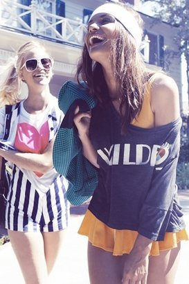 Wildfox Couture Native Harley Wide Tee in Heather Black