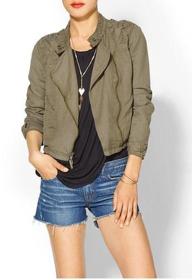 Free People Cutwork Moto Jacket