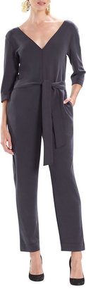 Mia Sanded Jersey Tie-Waist Jumpsuit