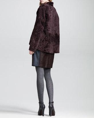 Brunello Cucinelli Reversible Shearling-Leather Short Coat