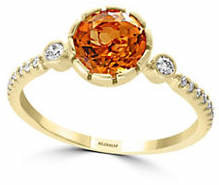 Effy Sunset 14K Yellow Gold Citrine and 0.02K Diamond Ring