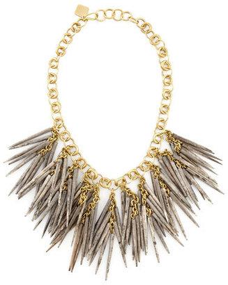 Ashley Pittman Grey Quill-Bead Necklace