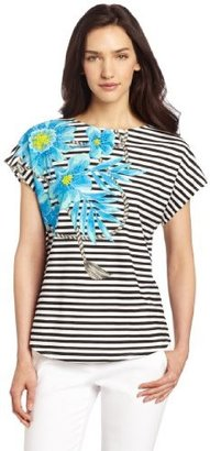 Chaus Women's Placed Floral Stripe Drape Sleeve Tee