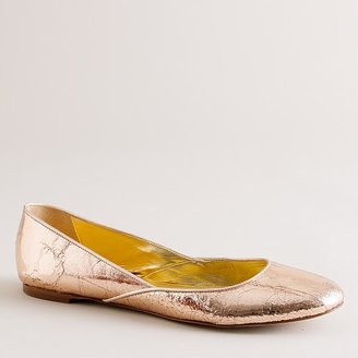 J.Crew Jane crackle-metallic ballet flats