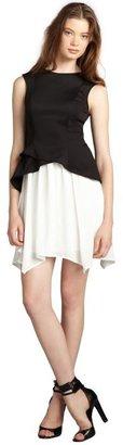 Wyatt black and white colorblocked peplum pleated skirt dress