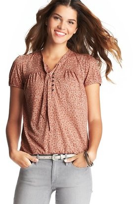 LOFT Petite Mini Dot Burnout Tie Neck Top