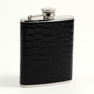 """Bey-Berk Croco"""" Black Leather Flask"""