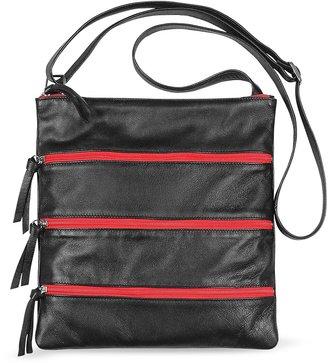 Fontanelli Black Zippered Italian Leather Flat Shoulder Bag