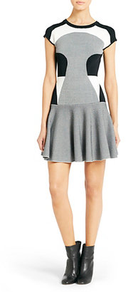 Diane von Furstenberg Renee Fit and Flare Knit Dress In Black/white