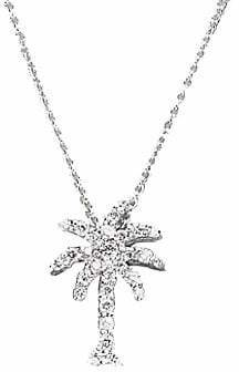 Roberto Coin Women's Tiny Treasures 0.17 TCW Diamond & 18K White Gold Palm Tree Pendant Necklace