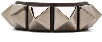 Valentino Medium Rockstud Calfskin Bracelet in Noir