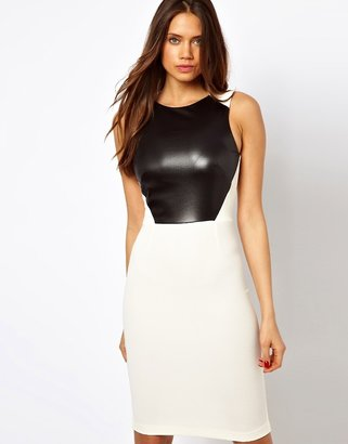 Vesper Midi Dress with Faux Leather Panel