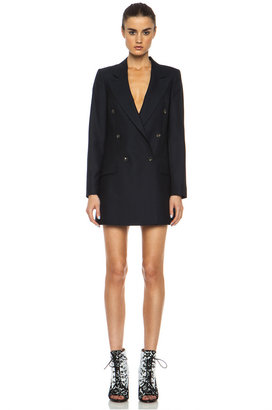 McQ by Alexander McQueen Wool-Blend Tux Jacket in Navy