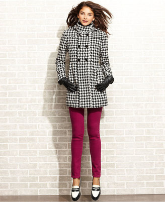 Tommy Hilfiger Coat, Houndstooth-Check Hooded Double-Breasted