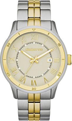 Claiborne Mens Gray Dial & Two-Tone Bracelet Watch